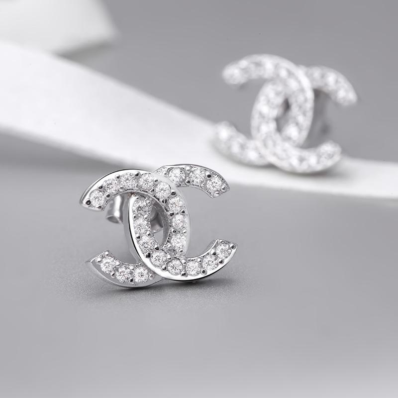 Bông tai bạc Chanel Style