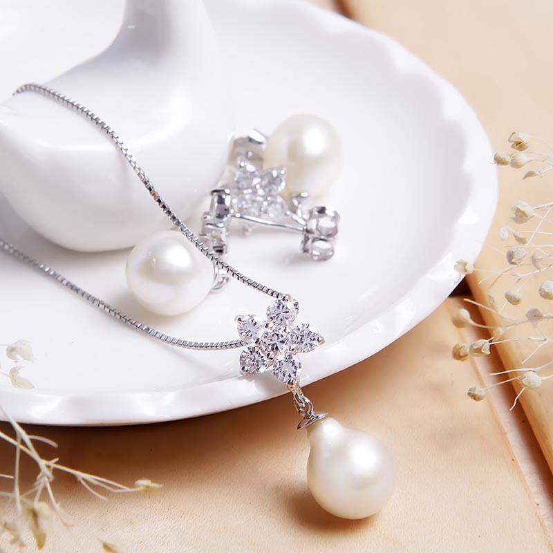 Bộ trang sức bạc Ely Flower Pearl