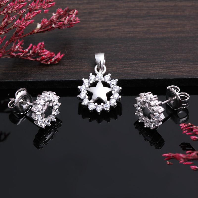 Bộ trang sức bạc Flower And Star - 4450147 , 101070011 , 249_101070011 , 451000 , Bo-trang-suc-bac-Flower-And-Star-249_101070011 , eropi.com , Bộ trang sức bạc Flower And Star