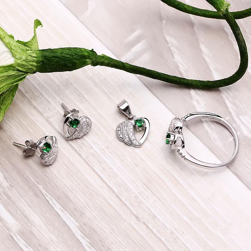 Bộ trang sức bạc Green Heart - 4450470 , 103080079 , 249_103080079 , 615000 , Bo-trang-suc-bac-Green-Heart-249_103080079 , eropi.com , Bộ trang sức bạc Green Heart