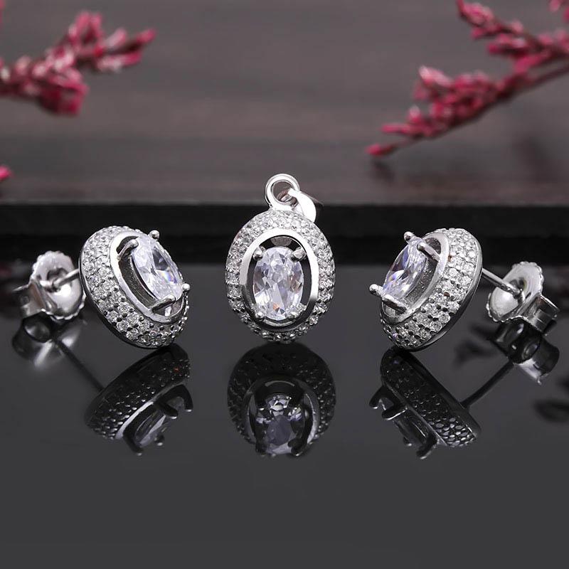 Bộ trang sức bạc Pretty Oval - 4450149 , 101070004 , 249_101070004 , 627000 , Bo-trang-suc-bac-Pretty-Oval-249_101070004 , eropi.com , Bộ trang sức bạc Pretty Oval