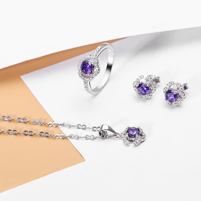 Bộ trang sức bạc Purple Elegant