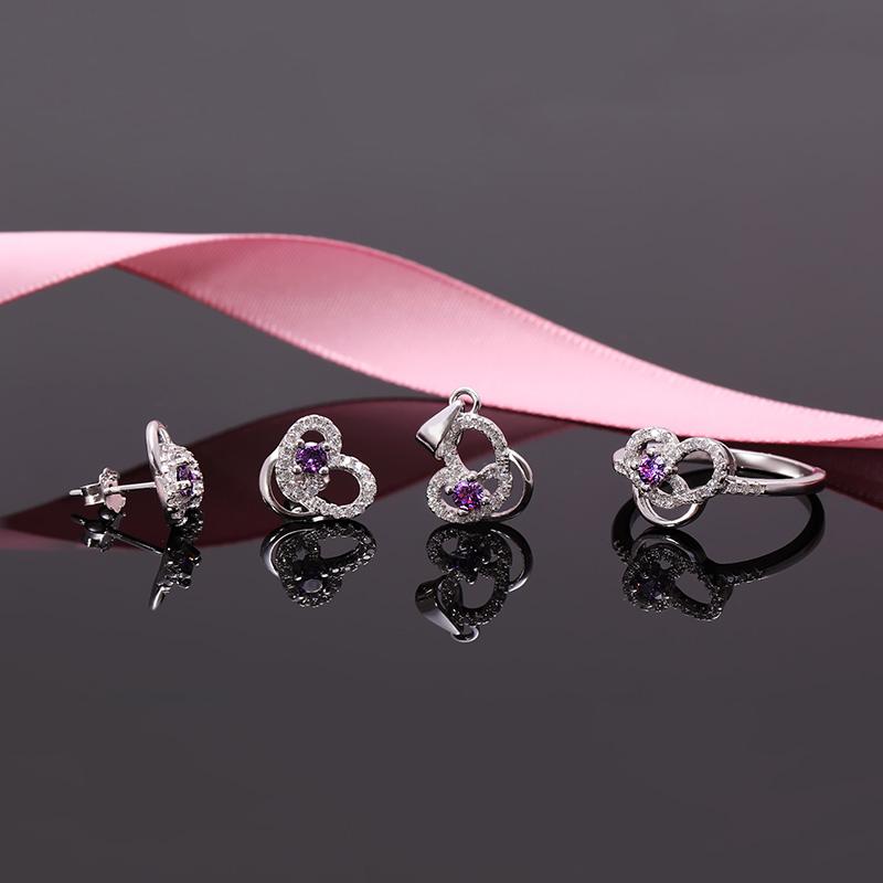Bộ trang sức bạc Purple My Heart