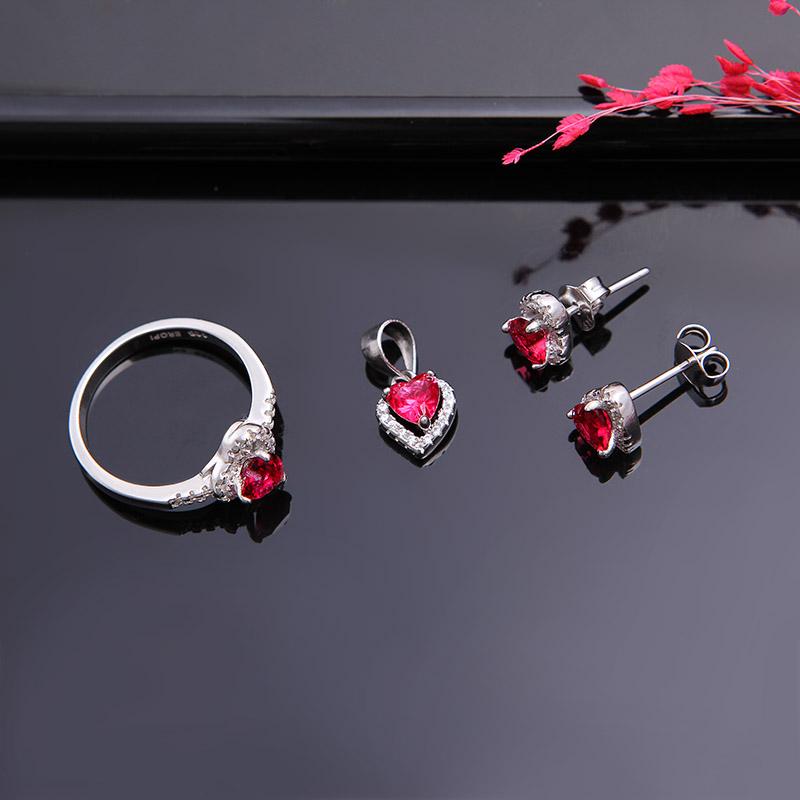 Bộ trang sức bạc Ruby Heart
