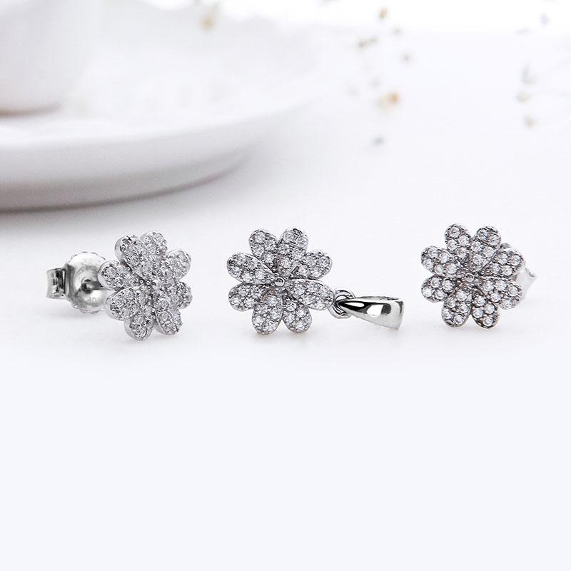 Bộ trang sức bạc White Flower