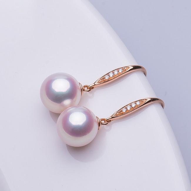 Bông tai vàng 18k đính kim cương ngọc trai biển Akoya 7,5-9mm Pinker