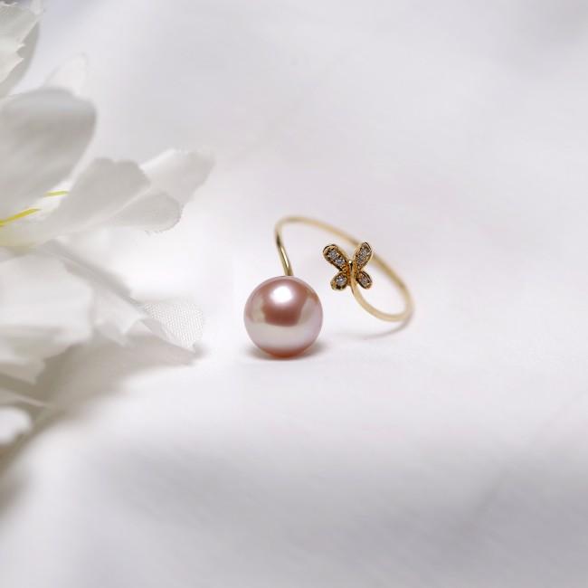 Nhẫn vàng 18k ngọc trai thật size 8mm-8.5mm Akoya đính Kim cương