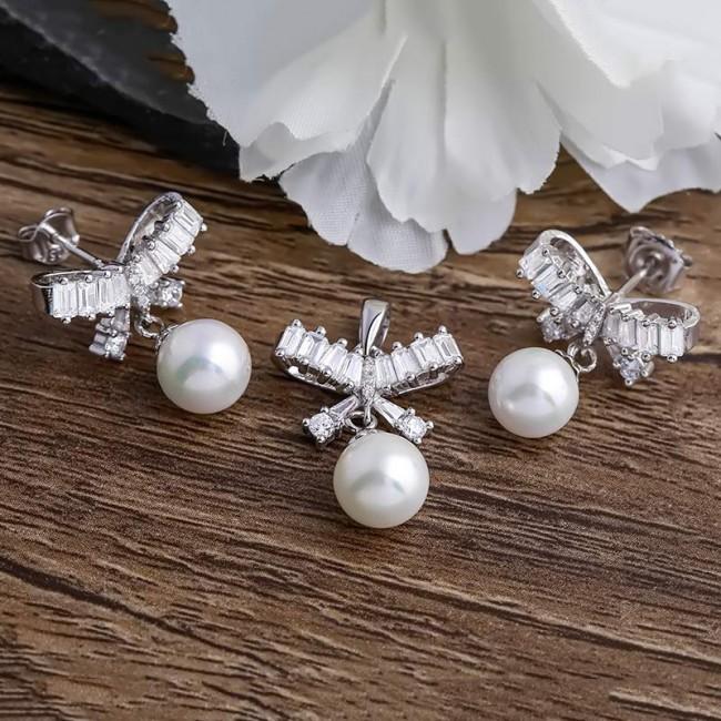 Bộ trang sức bạc Beauty Bow Pearl 2