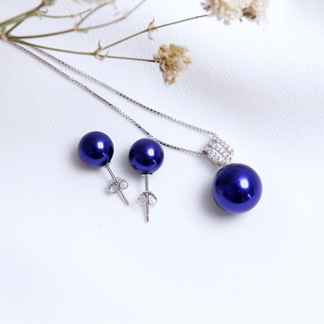 Bộ trang sức bạc Blue Pearl 3