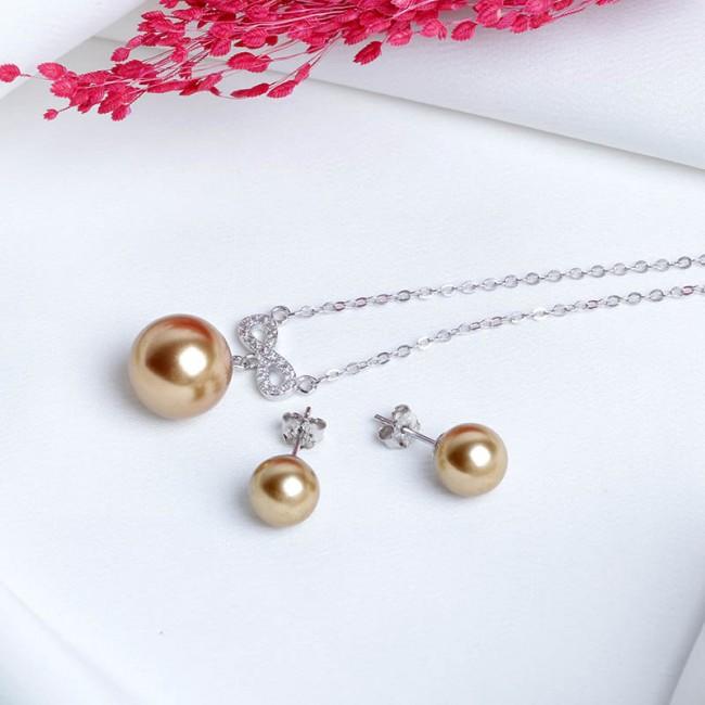 Bộ trang sức bạc Brown and White Pearl 2