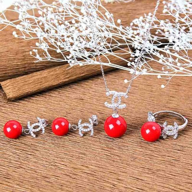 Bộ trang sức bạc Chanel Pearl 01-2