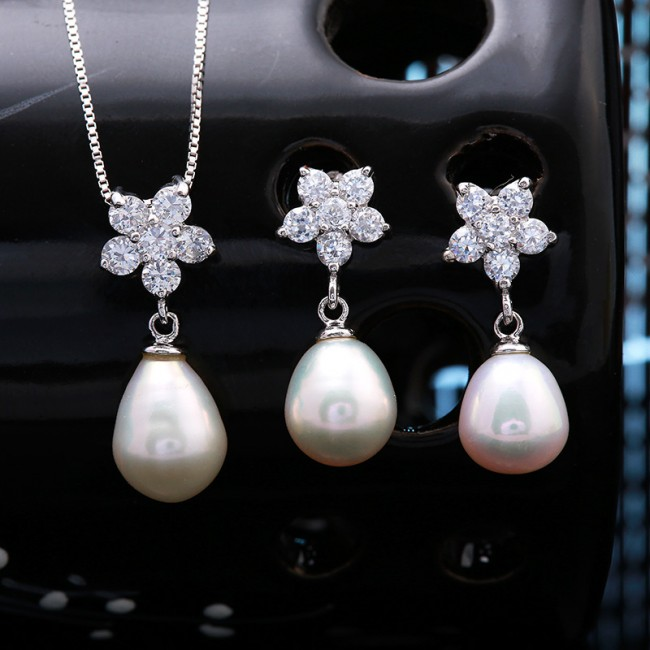 Bộ trang sức bạc Ely Flower Pearl 2