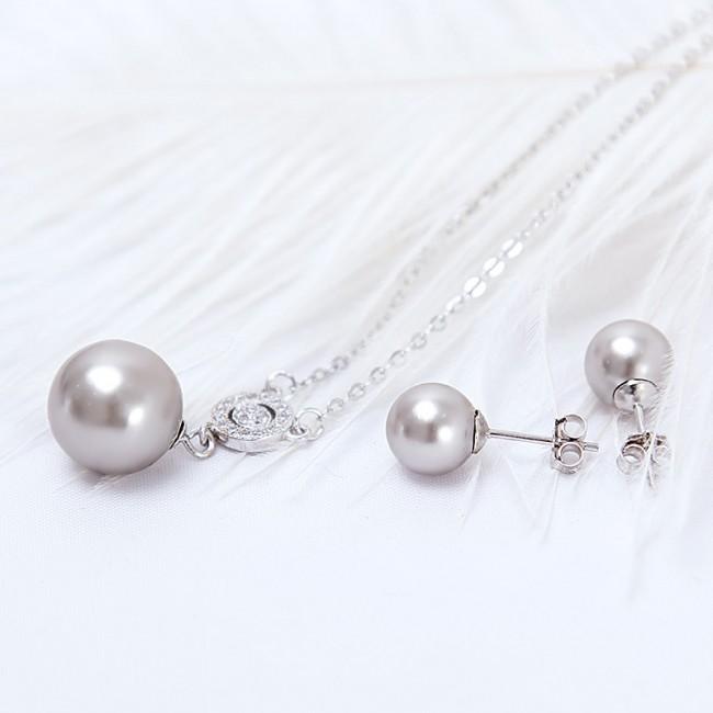Bộ trang sức bạc Grey Pearl 3