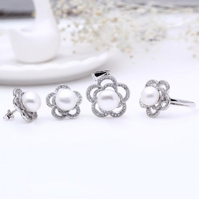Bộ trang sức bạc Love Flower Pearl 2