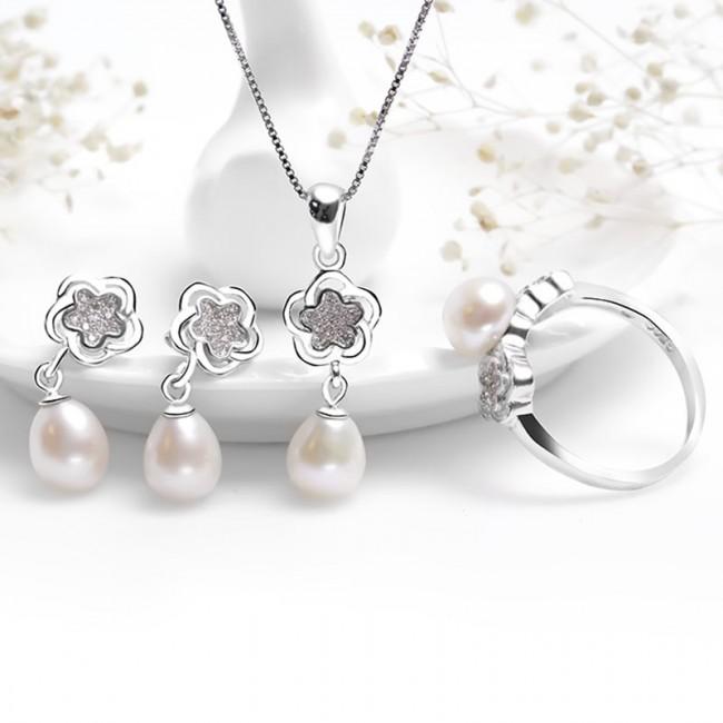Bộ trang sức bạc Love Flower Pearls 2