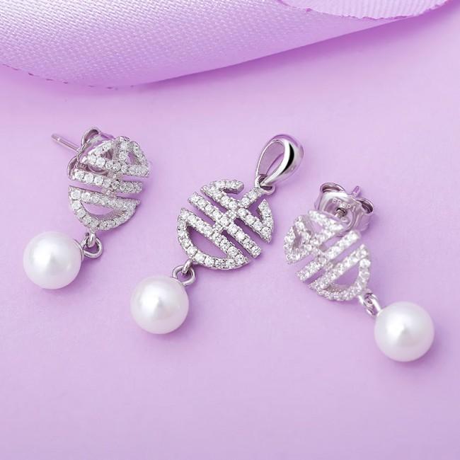 Bộ trang sức bạc ngọc trai Allvin Love 2