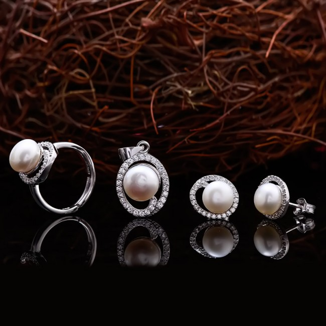 Bộ trang sức bạc ngọc trai Eudora Love 2