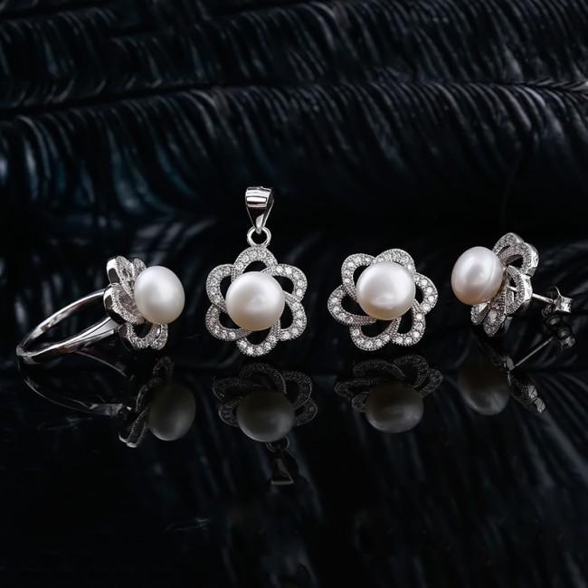 Bộ trang sức bạc ngọc trai Kim Flower 2