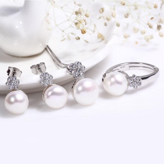 Bộ trang sức bạc Nice Flower Pearl 2