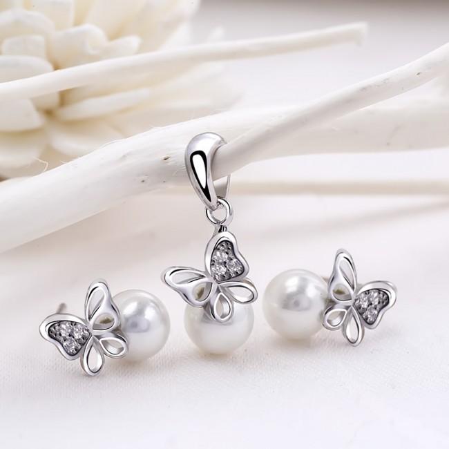Bộ trang sức bạc Pearl Butterfly 2