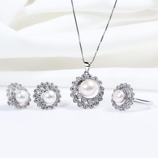Bộ trang sức bạc Rotation Pearl 2