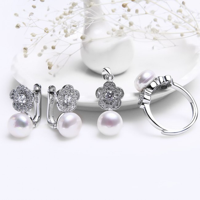 Bộ trang sức bạc Tiffany Pearl 2