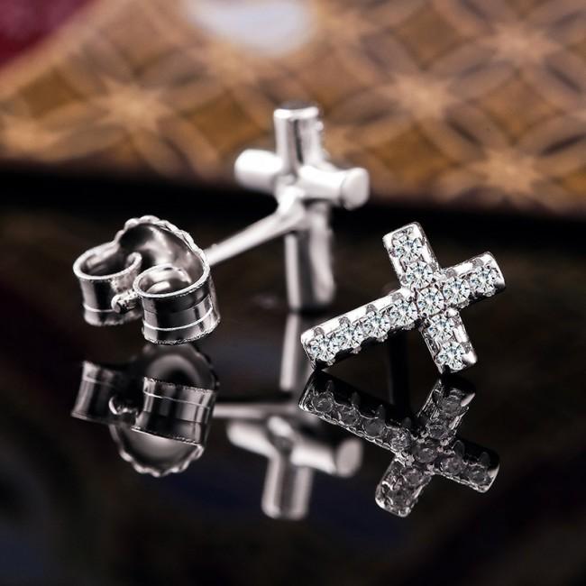 Bông tai bạc Shine Cross 3