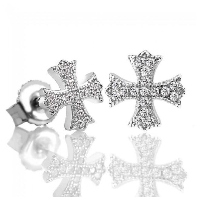 Bông tai bạc The Cross 3