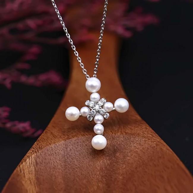 Dây chuyền bạc Pearl Cross 3