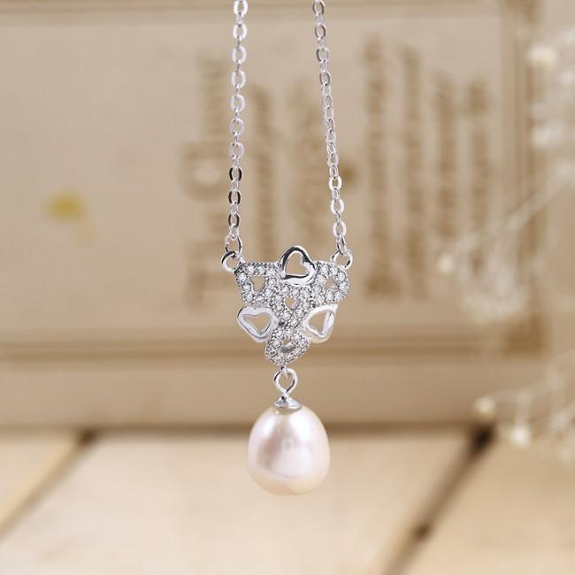 Dây chuyền bạc Pearl In Heart 3