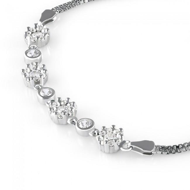 Lắc tay bạc Flower Chain 3