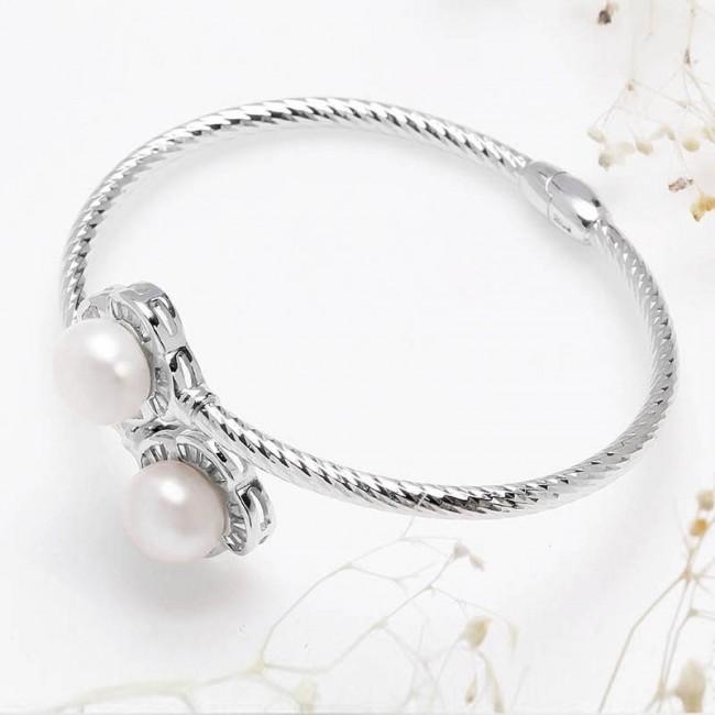 Lắc tay bạc Nice Flower Pearl -2