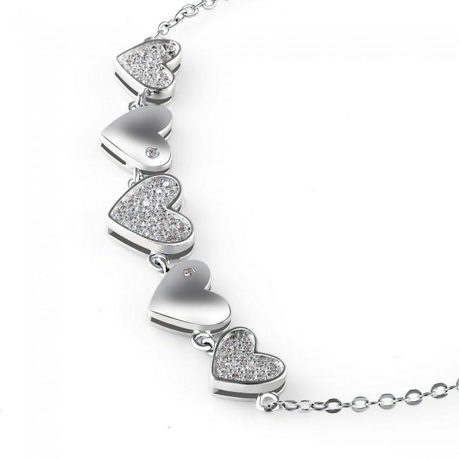 Lắc tay bạc String Heart 3
