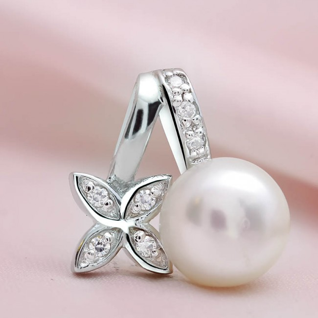 Mặt dây chuyền bạc Flower and Pearl 3