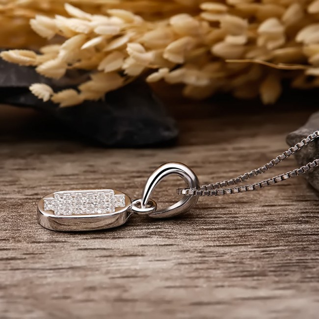 Mặt dây chuyền bạc Luxury Elip 3