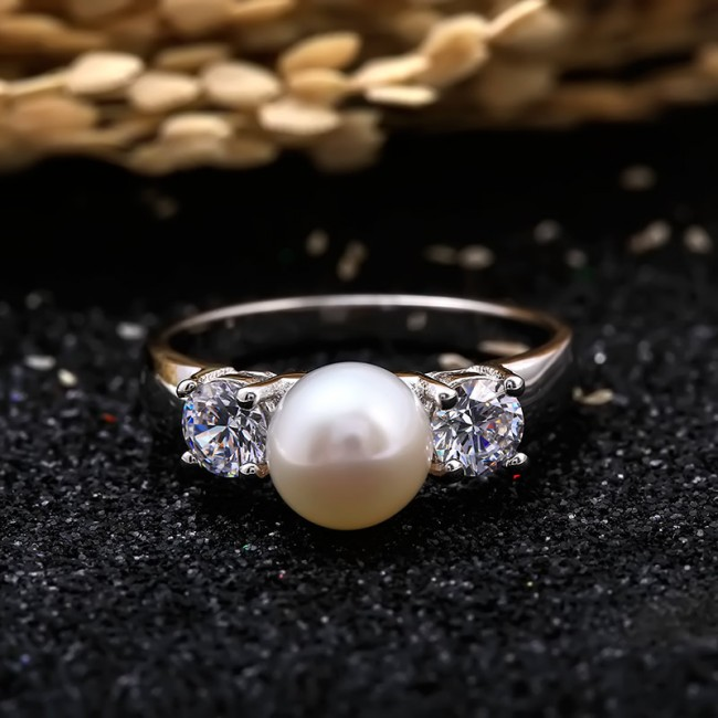 Nhẫn bạc Charm Pearl 3