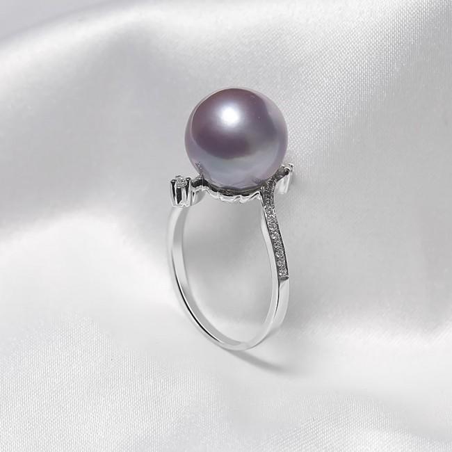 Nhẫn vàng trắng 18k ngọc trai đính kim cương Purpink Pearl