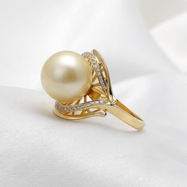 Nhẫn vàng 18k ngọc trai biển South Sea Jade 10-11mm