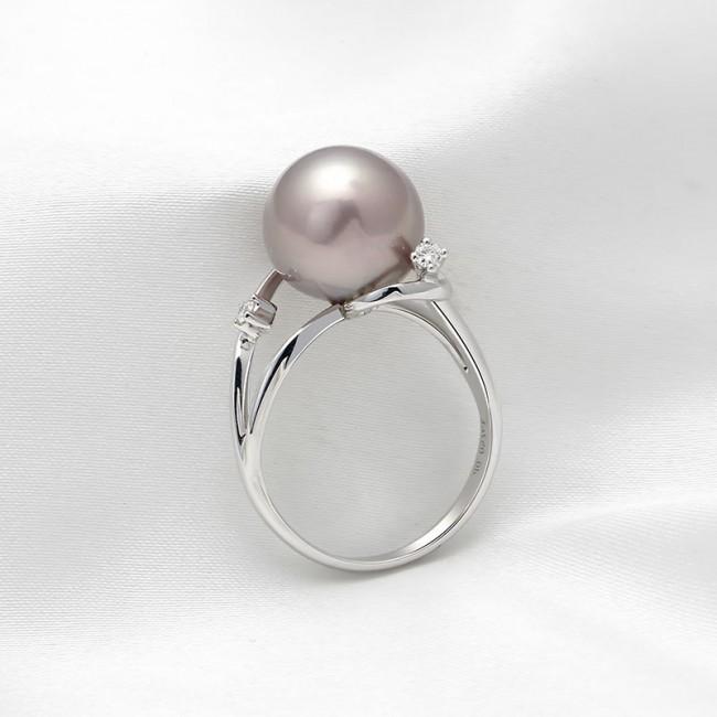 Nhẫn vàng trắng 18k ngọc trai thật Rounie Pearl