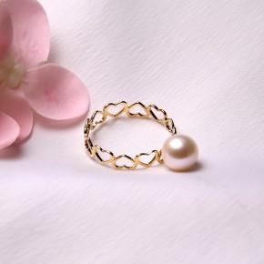 Nhẫn vàng 18k ngọc trai thật 7-8mm