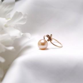 Nhẫn vàng 18k ngọc trai nước ngọt size 8mm-8.5mm đính Kim cương