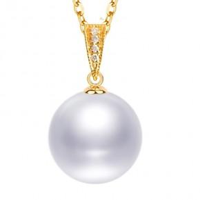 Mặt dây chuyền vàng 18k ngọc trai ngọt 8-14mm đính kim cương Maill