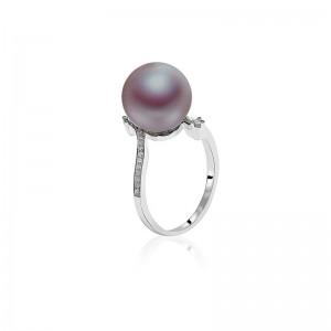 Nhẫn vàng trắng 18k ngọc trai thật Purpink 9-10mm đính Kim cương