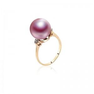 Nhẫn vàng 18k ngọc trai thật Seol 9-10mm đính Kim cương