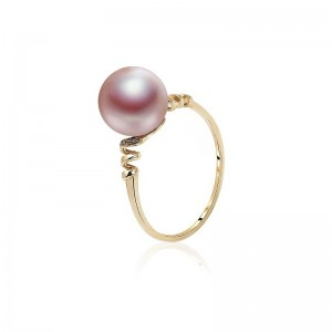 Nhẫn vàng 18k ngọc trai thật  8-9mm đính kim cương Damond Pearl