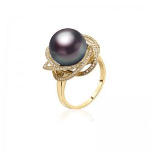 Nhẫn vàng 18k ngọc trai Tahiti đính Kim cương Tonie 11-12mm