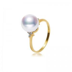 Nhẫn vàng 18k ngọc trai  Akoya 7.5-9.5mm đính Kim cương Orchid Cactus