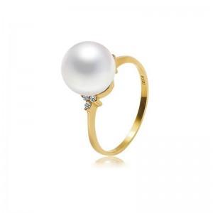 Nhẫn vàng 18k ngọc trai South Sea 10-11mm đính Kim cương Climbing rose