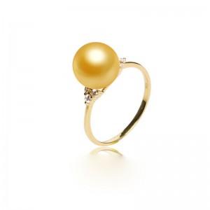 Nhẫn vàng 18k ngọc trai South Sea 9-10mm đính Kim cương Pansy
