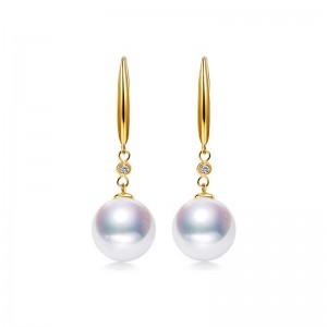 Bông tai vàng 18k đính kim cương và ngọc trai Akoya 7,5-9,5mm Ogranele